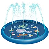 Rexin Splash Pad,68' Sprinkler Toy for Kids Children Toddlers Boys and Girls Perfect Inflatable Water Toys Outdoor Summer Splash Play mat
