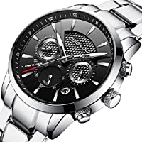 CRRJU Men's Business Casual Chronograph Quartz Waterproof Stainless Steel Strap Watch