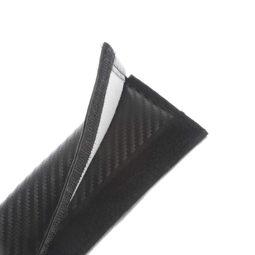 Clavel Autopartes 2pcs Car Seat Belts Covers Padding Carbon Fiber Leather Belt Shoulder Sleeve 1pc Retractable Badge Reel with Metal Belt Clip Abarth