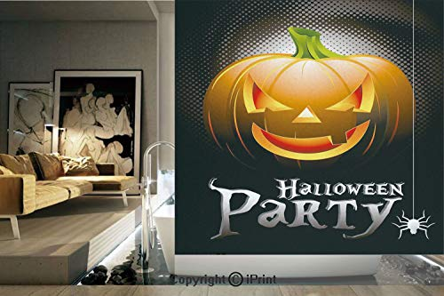 Decorative Privacy Window Film/Halloween Party Theme Scary Pumpkin on Abstract Modern Backdrop Spider Decorative/No-Glue Self Static Cling for Home Bedroom Bathroom Kitchen Office Decor Silver Black O ()