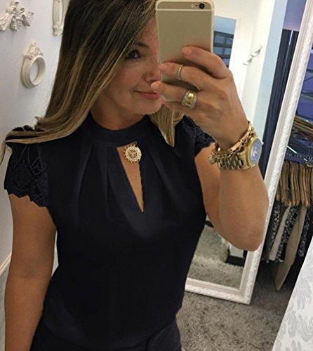 Courtes Femme Manches Blouse Noir V Tops Shirt lgant Haut Chic Chemisier Col Sentaoa T Tunique Blouse Casual z8qxU5