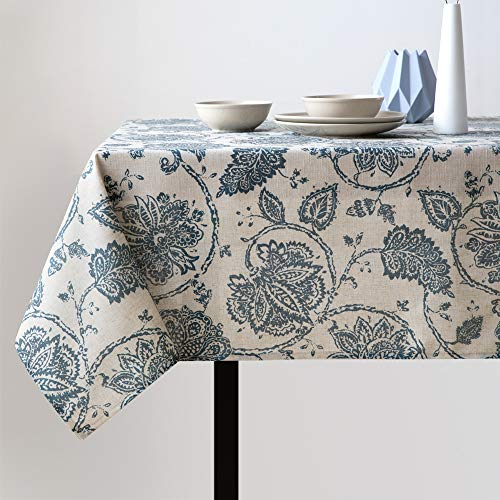 Linen Textured Tablecloth for Kitchen Jacobean Floral Printed Tablecloth Linen Textured Table Cover (1 Panel 51