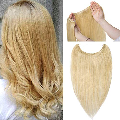 wn Flip on Human Hair Extension One Piece Secret Miracle Wire in Hairpieces No Clip No Tape in Remy Hair Translucent Fish Line Headband 60g 16''/16inch #24 Natural Blonde ()