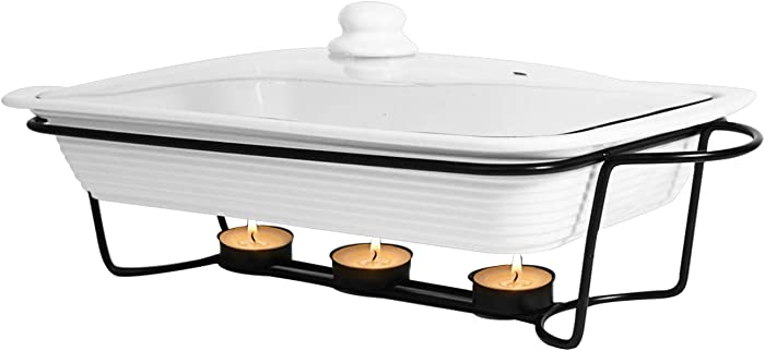 Le Regalo 3-Piece Bake and Server Food Warmer Set, 14.5x9.5x2.25, White
