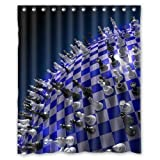 "60""(W) x 72""(H) Special Chessboard Earth Waterproof Bathroom Decor,Polyester Shower Curtain"