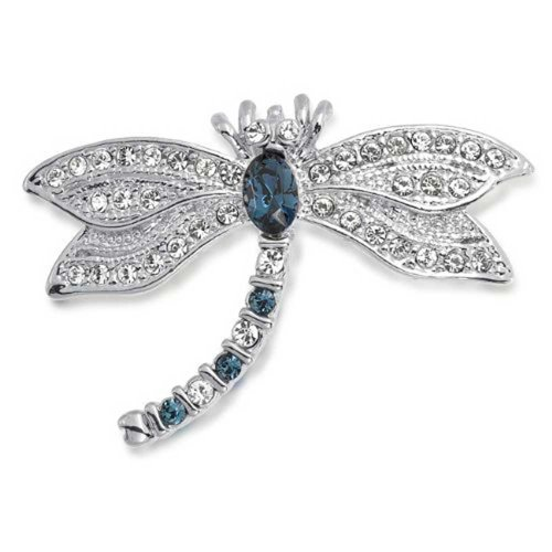 (Bling Jewelry Dragonfly Brooch Pin for Women Blue CZ Simulated Sapphire Cubic Zirconia Garden Insect Motif Rhodium Plated Brass)