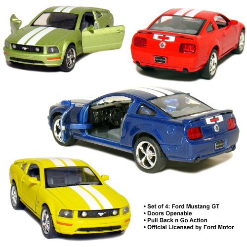 "Set of 4: 5"" 2006 Ford Mustang GT with Stripes 1:38 Scale (Blue/Green/Red/Yellow) by Kinsmart from Set of 4 Die-cast Vehicles"
