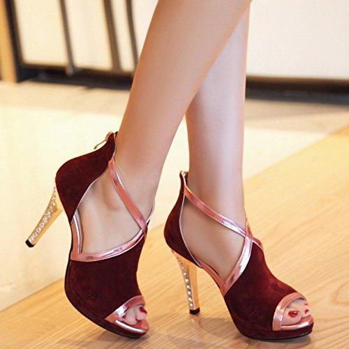 COOLCEPT Mujer Moda Peep Toe Sandalias Plataforma Tacon de Aguja Zapatos With Cremallera Wine Rojo