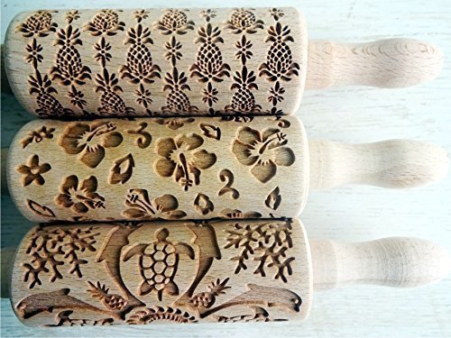 HAWAII, 3 KIDS Rolling pin SET . Wooden Laser Cut Mini Rolling Pins for cookies, play dough, salt dough or clay