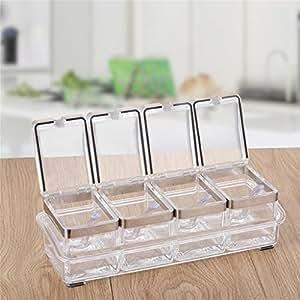 Acrylic cruet spice jar seasoning condiment box storage box creative kitchen supplies four sets