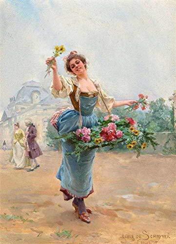 A Vendedora de Flores - Louis de Schryver - 60x83 - Tela em Canvas Para Quadro