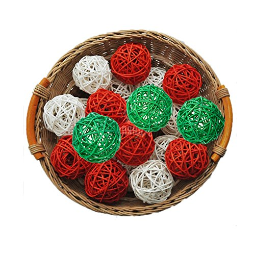 15PCS Mixed Red Green White Decorative Wicker Rattan Ball Christmas Party Wedding Birthday Nursery Decoration Vase Bowl Filler Kids Toy (Decorative Rattan Balls)
