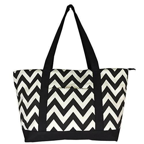 NEW! High Quality Zippered Pattern Prints X-Large Roomy Canvas Tote Bag ()