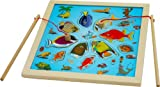 Toys of Wood Oxford Wooden Magnetic Fishing Game- fishing game board with jigsaw puzzle-fishing game for kids