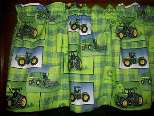 (Farm Tractor Lime Green Plaid farmhouse fabric decor treatment covering window topper curtain Valance)