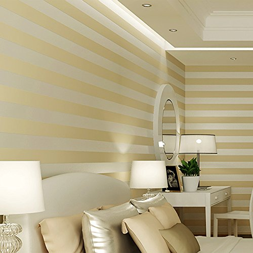 Modern Wallpaper Stripe (QIHANG European Modern Minimalist Country Luxury Stripe Wallpaper Roll for Living Room Bedroom Tv Backdrop Wall Beige Color)