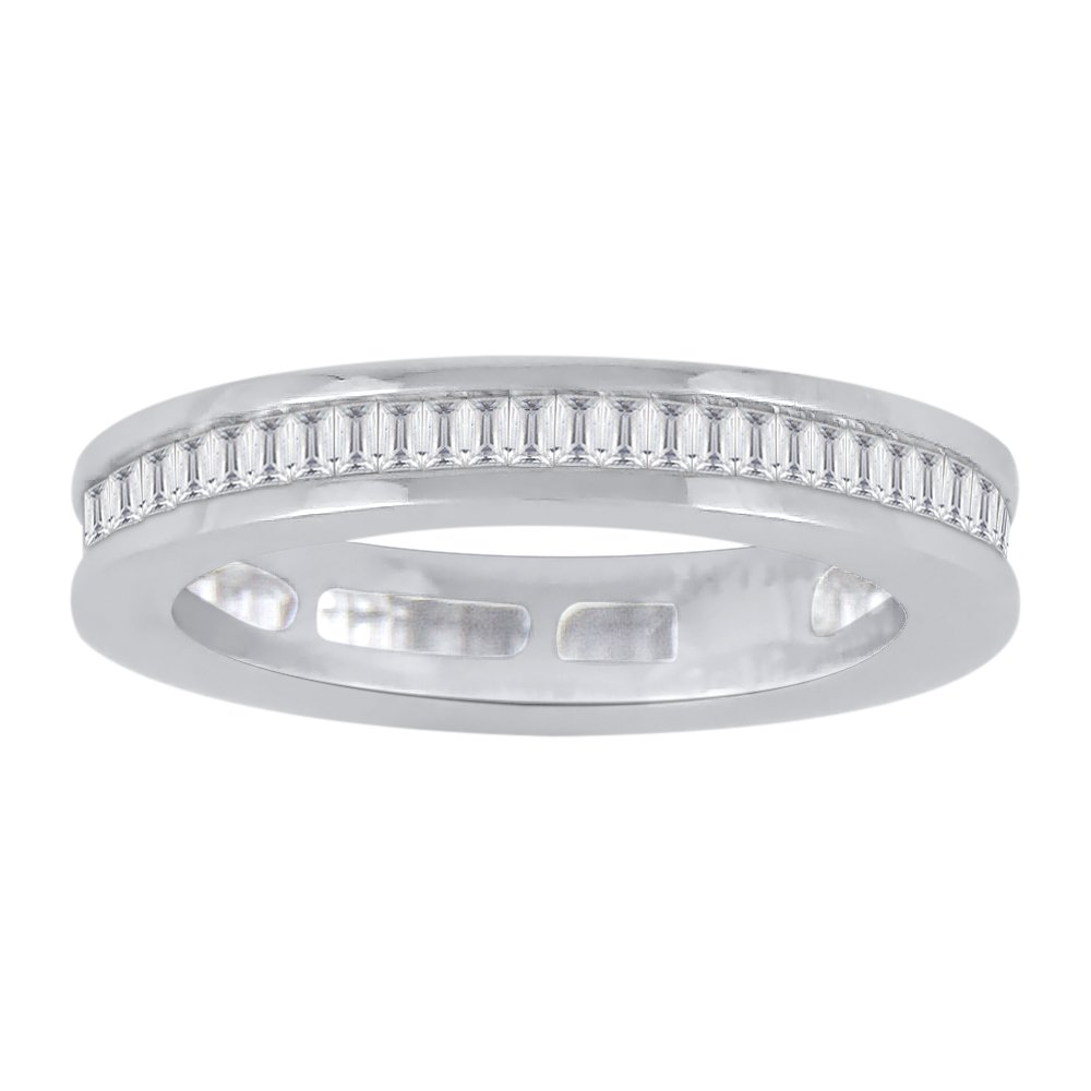 Baguette Cut Diamond Eternity Wedding Band in Sterling Silver (3/4 cttw)(Color-GH, Clarity-VSSI) (Size-8.75)