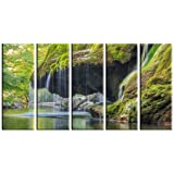 Waterfall print on canvas, forest stream lake print on canvas, framed and ready to hang, wall décor, waterfall canvas print, 5 panel print wall art