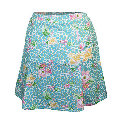 Monterey Club Ladies' Dry Swing Vivid Flower Leopard Pull-on Skort #2925 (Fairest Jade/Rose Quartz, Large)