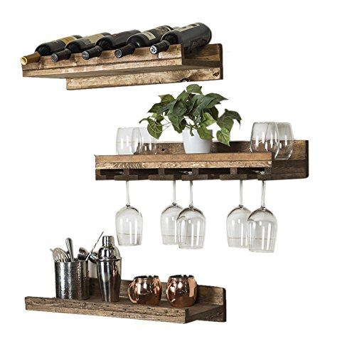 Del Hutson Designs Rustic Luxe Floating Wine Shelf & Glass Rack Set, Dark Walnut