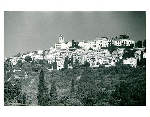 Vintage photo of Varius:the hill-top village of chateaneuf.u