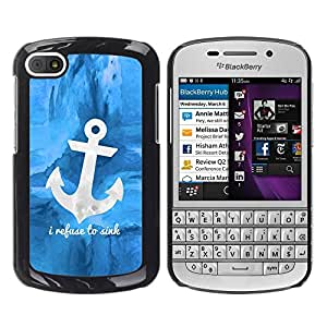 TopCaseStore / la caja del caucho duro de la cubierta de protección de la piel - Blue Anchor Sea Sailor Boat Ship - BlackBerry Q10