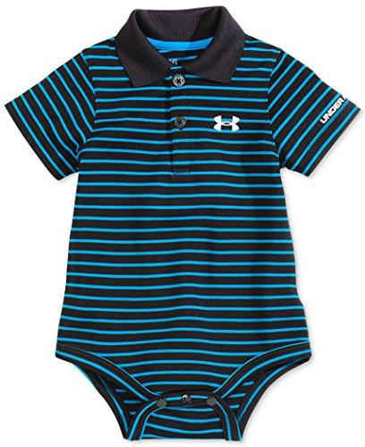 Under Armour Baby-Boys Newborn Polo Yarn Dye. Bodysuit, Black, 3-6 Months