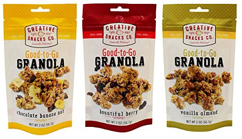 Creative Snacks Granola Variety Pack 3 Flavours (3 Bountiful Berry, 3 Vanilla Almond, 3 Chocolate Banana Nut ) 2 oz/9 bags (Berry Vanilla Flavor Banana)