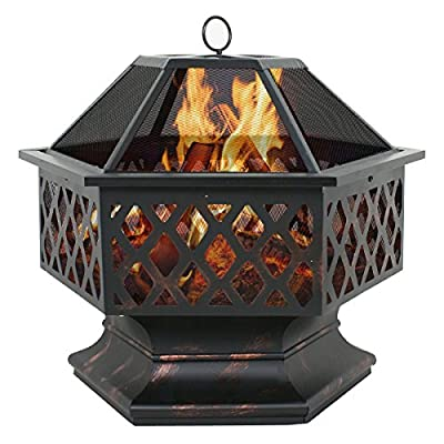 """ZENY 24"""" Fire Pit Hex Shaped Home Garden Outdoor Backyard Patio Firebowl Wood Burning Fireplace w/Spark Screen Cover"""