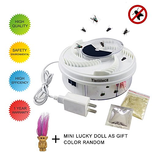 Green Day Trap - Electric Fly Trap Device, Physical Fly Trap Safe and Green with 2 PCS Trapping Food, White USB Cable & Power Adapter,a Cute Mini Lucky Dolls as gift.