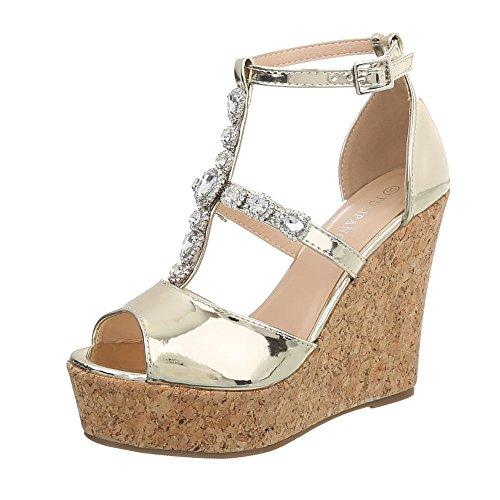 Ital-Design Keilsandaletten Damenschuhe Keilabsatz/Wedge Keilabsatz Schnalle Sandalen & Sandaletten Gold K2Z818-22A