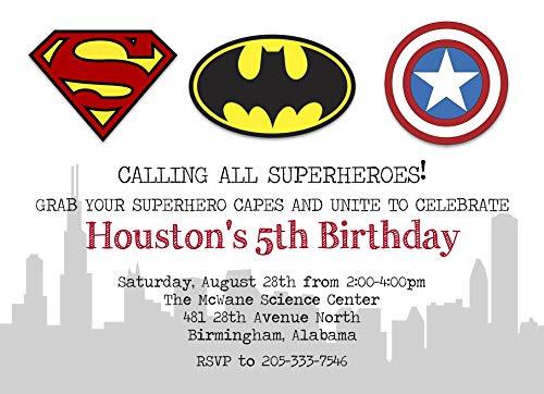 Superhero Themed Custom Birthday Invitation ()