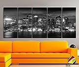 "XLARGE 30""x 70"" 5 Panels 30""x14"" Ea Art Canvas Print beautiful Boston light Skyline night Black & White Wall Home Office decor interior ( framed 1.5"" depth) offers"