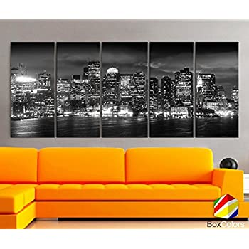 Amazon.com: Picture Sensations Framed Huge 3-Panel Boston Skyline ...