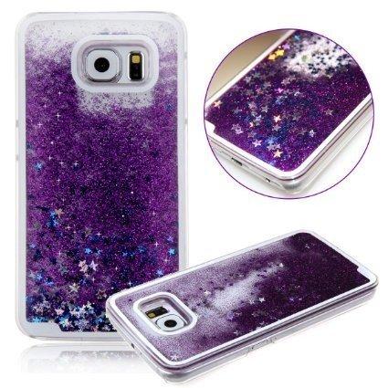 FUN CASE violet für Iphone 6 / 6S / 6G Handy Cover Hülle Case Glitzer Sterne Flüssig Sternenstaub Hard Case