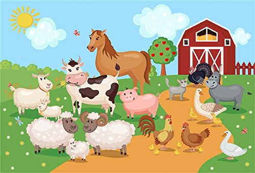 CSFOTO 6x4ft Background for Farm Manor Animals On Grassland Photography Backdrop Cartoon Sheep Pig Horse Chick Cock Meadow Poultry Photo Studio Props Children Portrait Wallpaper ()