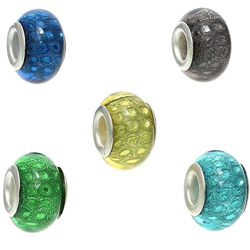 Pack of 20 Beads Wholesale - Resin European Style Charm Beads Round Mixed Tulle Dots Pattern