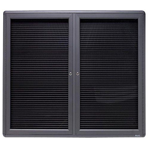 QUARTET 2-Door Enclosed Magnetic Directory, 48 x 36, Black, Gray Frame (Case of 2)