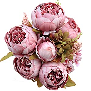 Luyue Vintage Artificial Peony Silk Flowers Bouquet, Cameo Brown 35