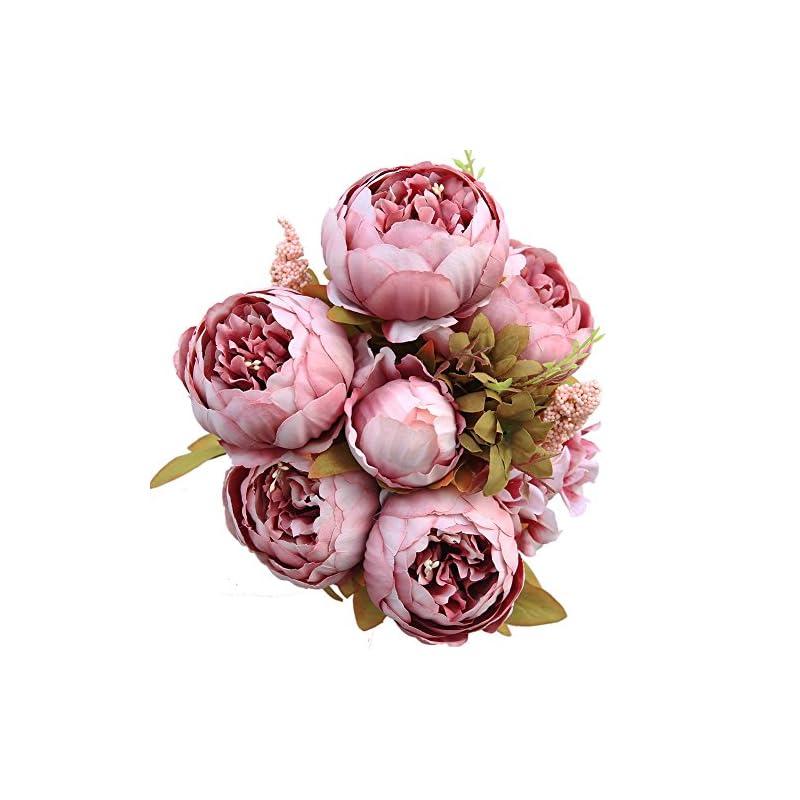 silk flower arrangements luyue vintage artificial peony silk flowers bouquet, cameo brown