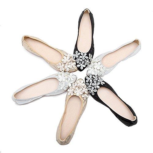 Meeshine Ballerine Ballerines Ballerines Strass Glissement Sur Chaussures Plates Argent