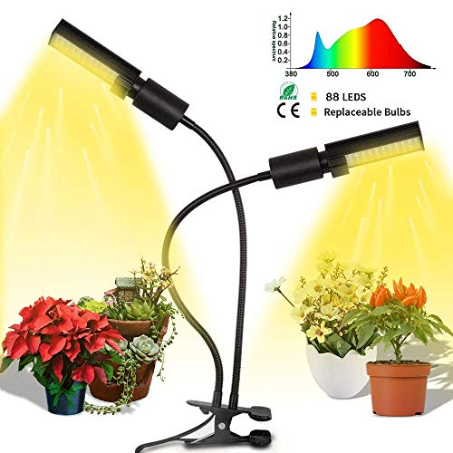 Grow Light for Indoor Plants, Bigear 45W Sunlike Full Spectrum LED Plant Light, Grow Lamp with Dual Flexible Gooseneck Replaceable Bulb