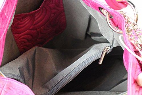Borsa Bozana Kira Fuxia Rosa Italia Designer Donna Borsa In Pelle Borsa Scamosciata Shopper Goffratura Nuovo