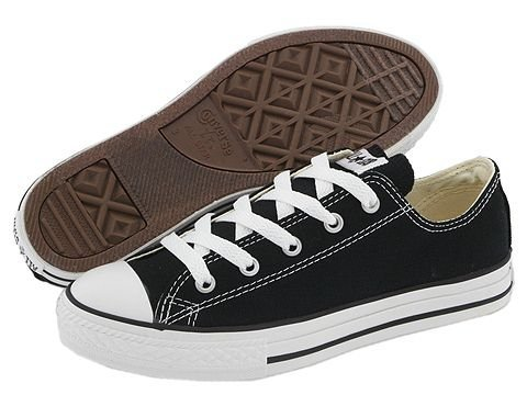 Converse All Star Low Black/White Kids Shoes 3J235 Sneakers, 3 Little Kid -