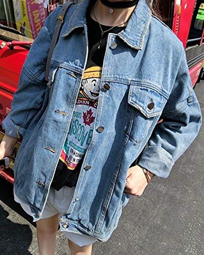 Casuale Giacca Fidanzato Battercake Outerwear Giacche Als Lunghe Donne Ragazze Donna Casual Bild Jeans Giubotto Sciolto Fashion Maniche Tendenza College qwfpq