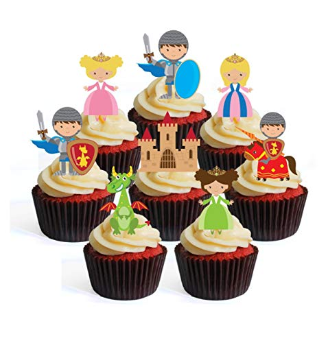 Fairytale Knights Dragons Princess Edible Cupcake Toppers - Stand Up Wafer Cake Decorations (Pack of 24)