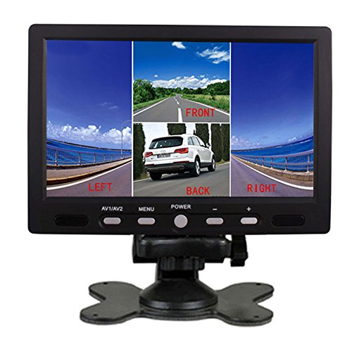 PONPY 7'' HD 800x480 RGB 4 Split Quad Video Display 4 Video Input Signal TFT LCD Color Car Rear View Headrest Monitor for Car Camera DVD VCR by PONPY