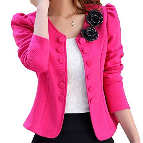 (Blazer Cardigan Bolero Formal Tops Style fit Girl Lady's Shape (US 10, Pink))