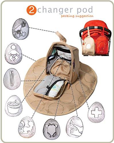 PacaPod Sequoia funda–Bolso cambiador de lujo 3en 1sistema de organización beige lino gris oscuro