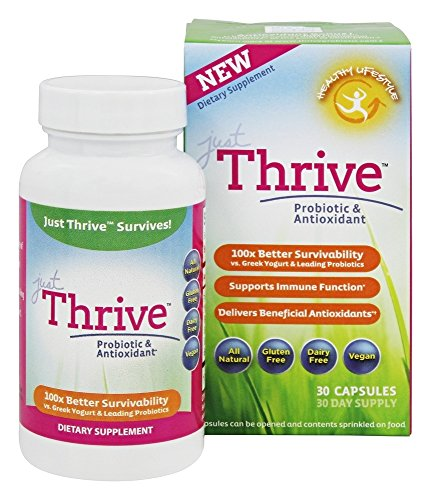 Just Thrive: Probiotic & Antioxidant Supplement - 30 Day Supply - 100% Spore-Based Probiotic - 1000x Better Survivability Than Leading Probiotics - Support Immune & Digestive Health - Vegan & Non-GMO (Foods Not To Eat On Candida Diet)
